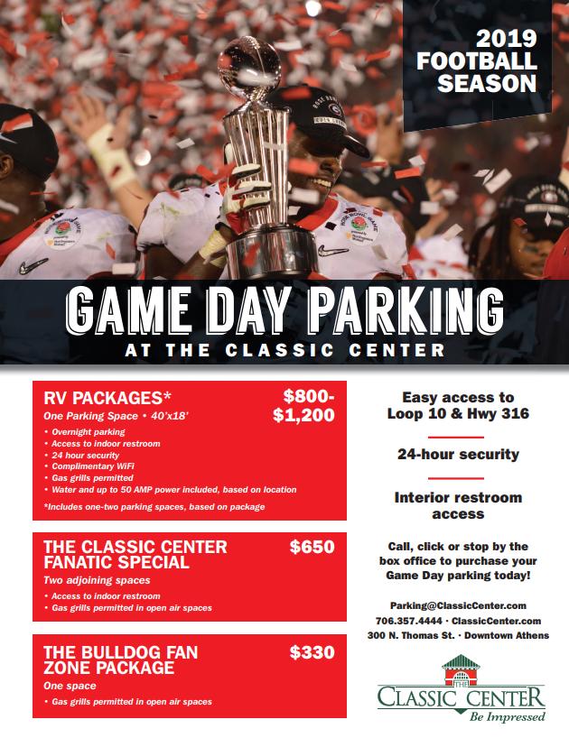 Classic Center football parking flyer